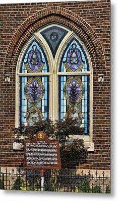 Athens Alabama First Presbyterian Church Stained Glass Window Metal Print by Kathy Clark