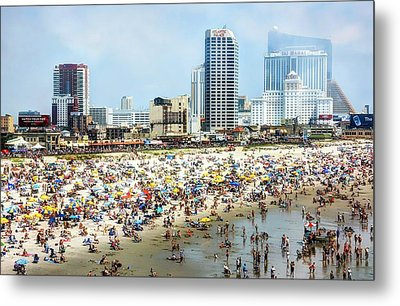 Atlantic City Beach Metal Print by John Loreaux