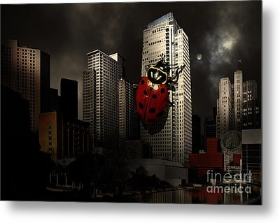 Attack Of The Giant Killer Ladybug Of San Francisco . 7d4262 Metal Print by Wingsdomain Art and Photography