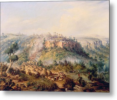 Attack On Stocks Kraall In The Fish River Bush Metal Print by Thomas Baines