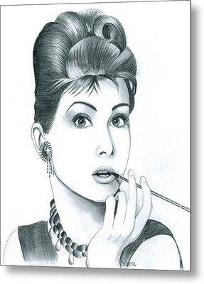 Audrey Hepburn Metal Print by Crystal Rosene