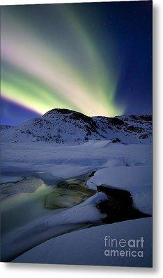 Aurora Borealis Over Mikkelfjellet Metal Print by Arild Heitmann