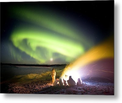Aurora Watching, Time-exposure Image Metal Print by Chris Madeley