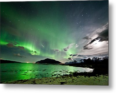 Auroras And Moon Metal Print