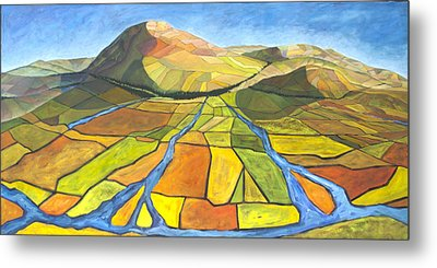 Metal Print featuring the painting Austrian Landscape by AnneKarin Glass