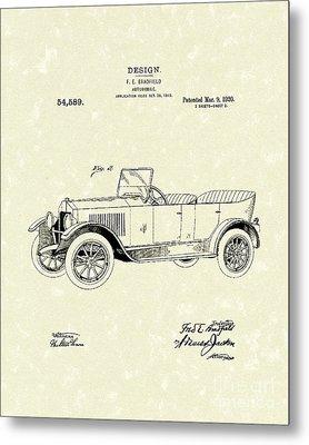 Automobile Bradfield 1920 Patent Art  Metal Print