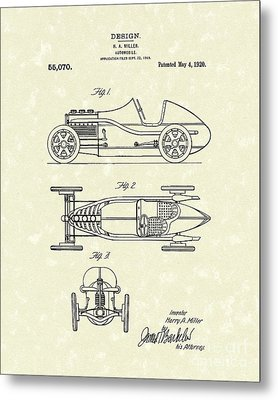 Automobile Miller 1920 Patent Art Metal Print
