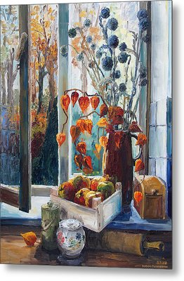 Autumn At The Kitchen Window Metal Print by Barbara Pommerenke