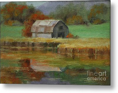 Autumn Barn Metal Print by Linda Eades Blackburn