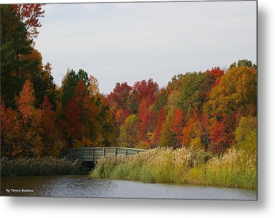 Metal Print featuring the photograph Autumn Bridge by Tannis  Baldwin