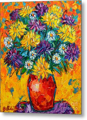 Autumn Flowers Gorgeous Mums - Original Oil Painting Metal Print by Ana Maria Edulescu