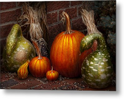 Autumn - Gourd - Family Get Together Metal Print by Mike Savad