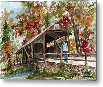 Metal Print featuring the painting Autumn In Knoebels Grove  by Nancy Patterson