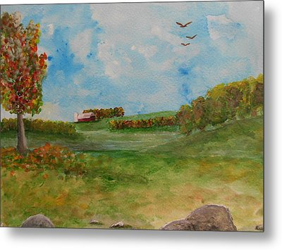 Autumn In New York Metal Print by Barbara McNeil