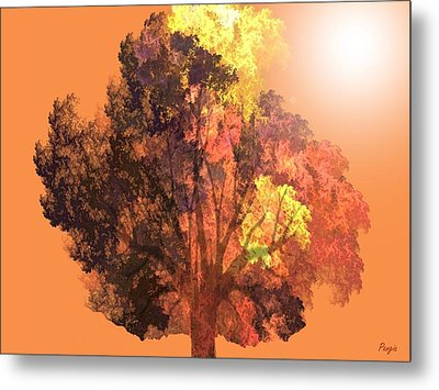 Metal Print featuring the digital art Autumn Leaves by John Pangia
