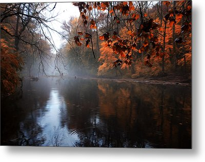 Autumn Morning By Wissahickon Creek Metal Print by Bill Cannon