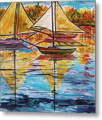 Autumn Sailboats Metal Print by John Williams