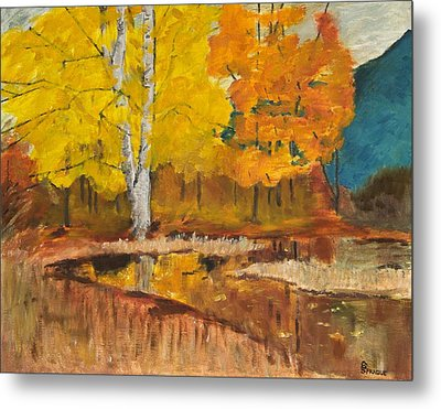Metal Print featuring the painting Autumn Tranquility by Cynthia Morgan