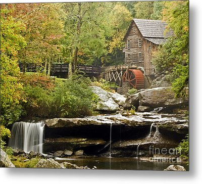 Autumn Waterfall Glade Creek Grist Mill Metal Print
