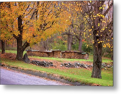 Metal Print featuring the photograph Autumn Woodpile by Tom Singleton
