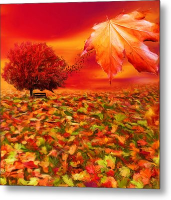 Autumnal Scene Metal Print by Lourry Legarde