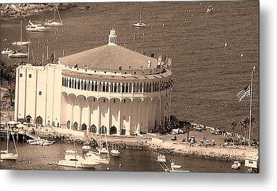 Avalon Casino In Sepia Metal Print by Paula Greenlee
