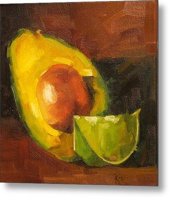 Avocado And Lemon Metal Print by Jose Romero