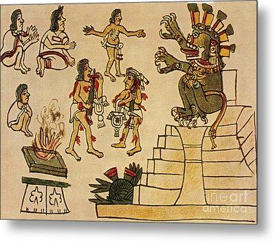Aztec Priests Appease Mictlantecuhtli Metal Print by Photo Researchers