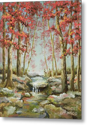 Metal Print featuring the painting Babbling Brook by Vic  Mastis