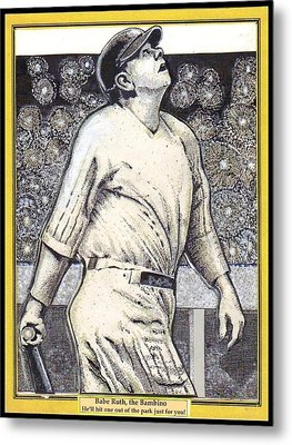 Babe Ruth Hits One Out Of The Park  Metal Print by Ray Tapajna