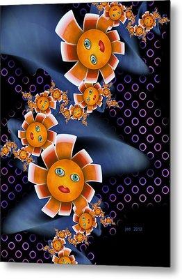 Baby Orange Flowers Metal Print by Josette Dery
