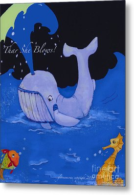 Metal Print featuring the painting Baby Whale by Glenna McRae