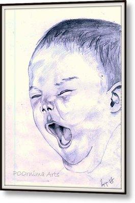 Baby-yawning Metal Print by Poornima M