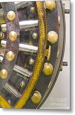 Backside Of A Bank Vault Door Metal Print by Adam Crowley