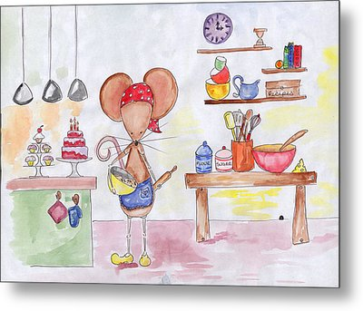 Bakery Mouse Metal Print by Sarah LoCascio
