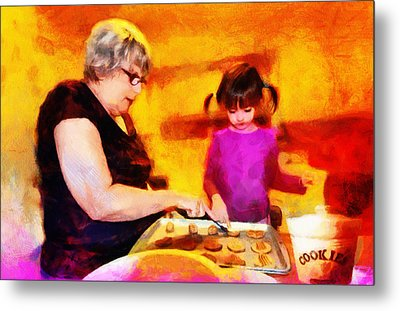 Baking Cookies With Grandma Metal Print by Nikki Marie Smith
