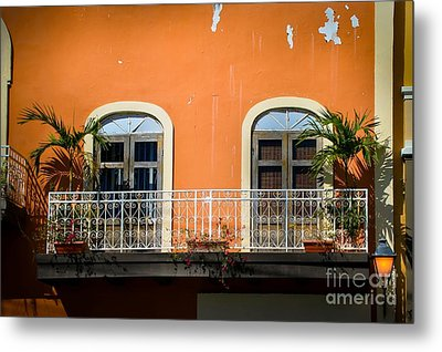 Balcony With Palms Metal Print by Perry Webster