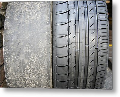 Bald And New Tyre Metal Print by Cordelia Molloy