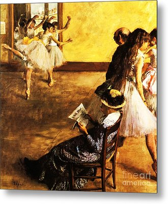 Ballet Class  The Dance Hall Metal Print by Pg Reproductions