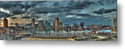 Metal Print featuring the photograph Baltimore Inner Harbor Pano by Mark Dodd