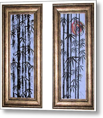 Metal Print featuring the painting Bamboo Forest - Dyptech by Alethea McKee