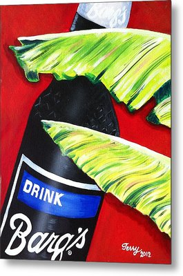 Banana Leaf Series - Barq's Rootbeer Metal Print by Terry J Marks Sr