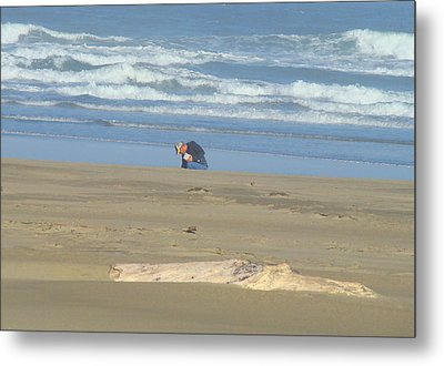 Bandon Oregon Beach Comber Prints Ocean Coastal Metal Print by Baslee Troutman