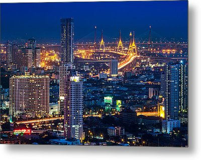Bangkok Capital City Of Thailand Nightscape Metal Print by Arthit Somsakul