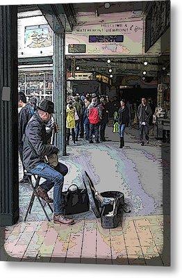 Banjo Busker At The Market Metal Print
