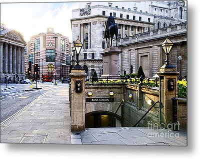 Bank Station Entrance In London Metal Print by Elena Elisseeva