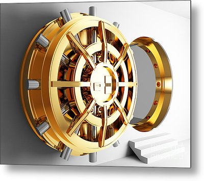 Bank Vault Door 3d Metal Print by Gualtiero Boffi