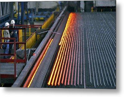 Bar-rolling Mill Processing Molten Metal Metal Print by Ria Novosti