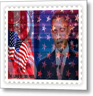 Barack A Stamp Metal Print by Fania Simon
