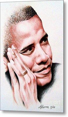 Barack Obama Metal Print by A Karron